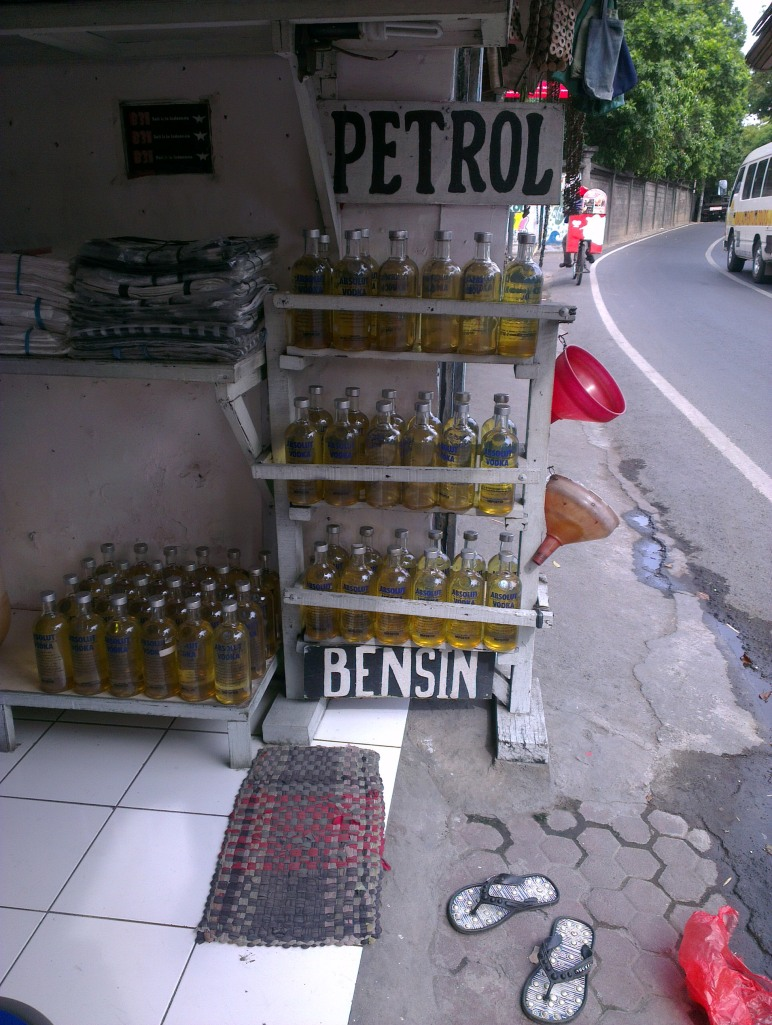 Petrol is sold on the side of the road..... in Absolut Vodka bottles.... =D